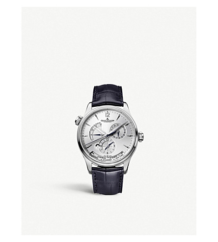 JAEGER LE COULTRE Q1428421 Master Geographic stainless steel and alligator leather watch
