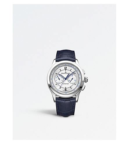 JAEGER LE COULTRE 1538530 Master Chronograph stainless steel and alligator leather watch