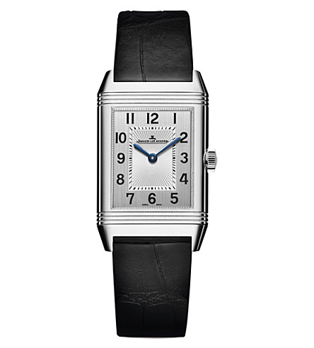 JAEGER-LECOULTRE Reverso stainless steel and alligator leather watch