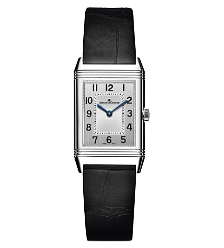 JAEGER LE COULTRE Reverso stainless steel and alligator leather watch