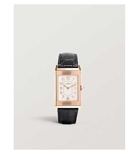 JAEGER LE COULTRE Q3302421 Grande Reverso Lady Ultra Thin 18ct rose-gold and alligator-leather watch