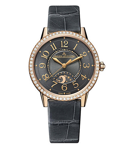 JAEGER LE COULTRE Q3442450 Rendez-Vous alligator-leather and 18ct rose-gold diamond watch