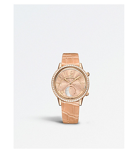 JAEGER LE COULTRE 3522420 Rendez-Vous Moon Phase rose gold alligator leather and diamond watch