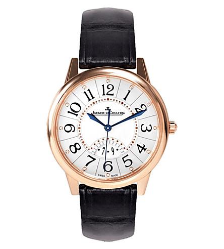 JAEGER LE COULTRE Q3542490 海盛筵玫瑰镀金不锈钢和皮革手表