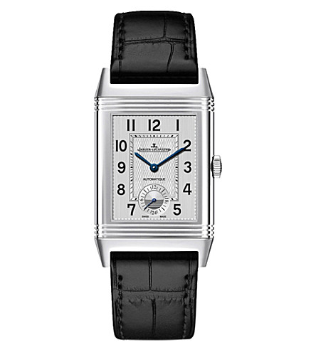 JAEGER LE COULTRE 3838420 reverso classic duoface large steel and leather watch