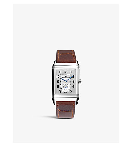 JAEGER LE COULTRE Q3848420 Reverso Classic duoface stainless steel and alligator leather watch
