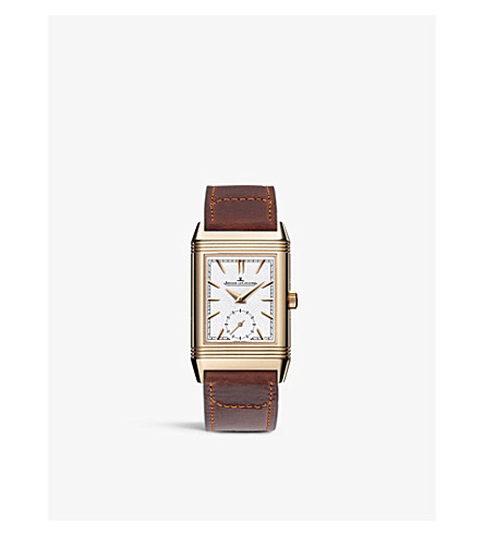 JAEGER-LECOULTRE Q3902420 Reverso Tribute 18ct rose-gold and leather strap watch