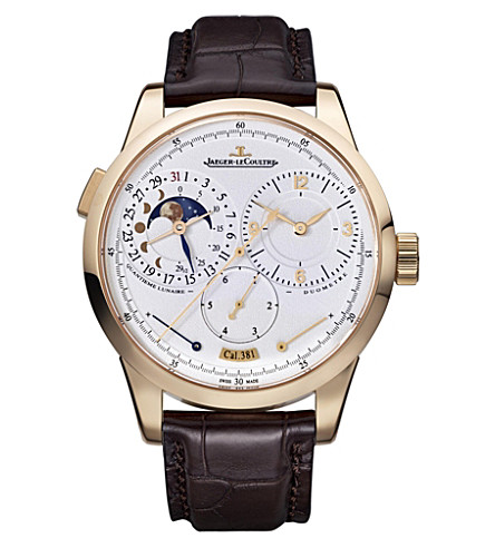 JAEGER LE COULTRE Q6042421 Duometre rose-gold automatic leather strap watch