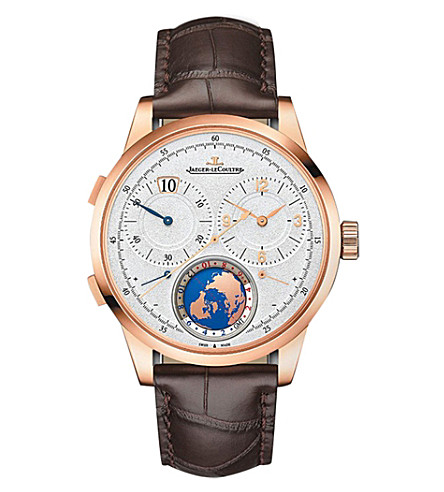 JAEGER LE COULTRE Q6062520 Duometre stainless steel and alligator leather watch