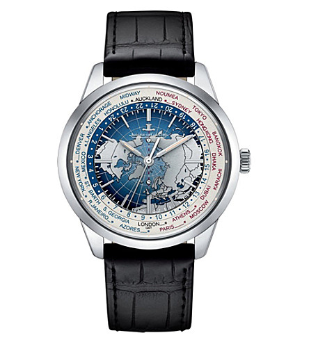 JAEGER LE COULTRE Q8108420 Geophysic Worldtime stainless steel and alligator leather watch