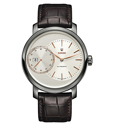 RADO R14129116 DiaMaster Automatic Grande Seconde ceramic and leather watch