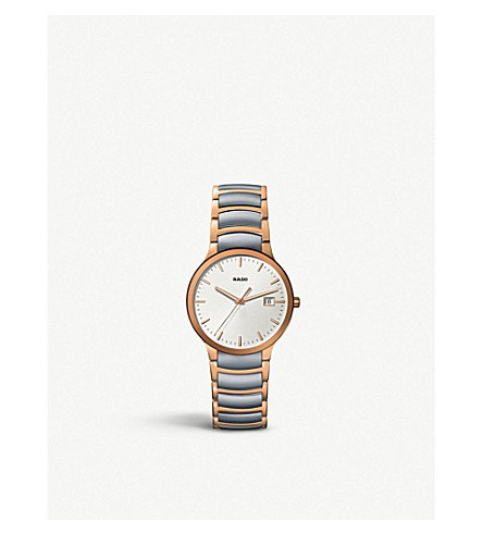 RADO R30554103 Centrix rose gold and stainless steel watch
