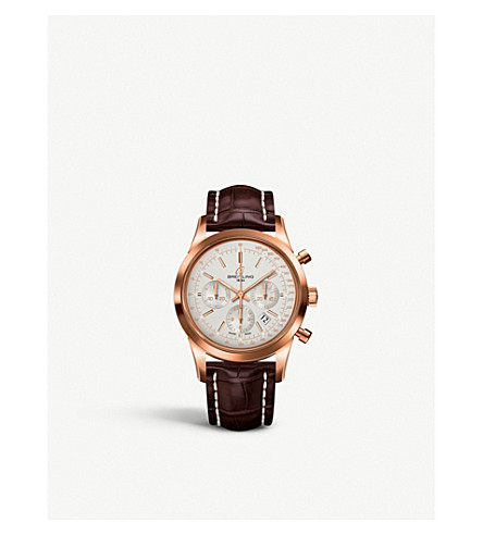 BREITLING RB015212G738740P Transocean chronograph 18kt rose gold and alligator leather strap watch