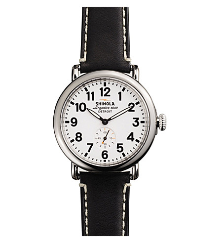 SHINOLA S100019 the runwell unisex stainless steel and leather watch (White