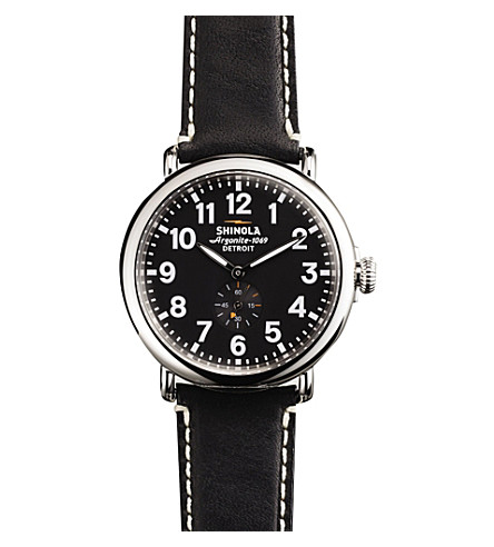 SHINOLA S0100020 The Runwell unisex stainless steel and leather watch (Black