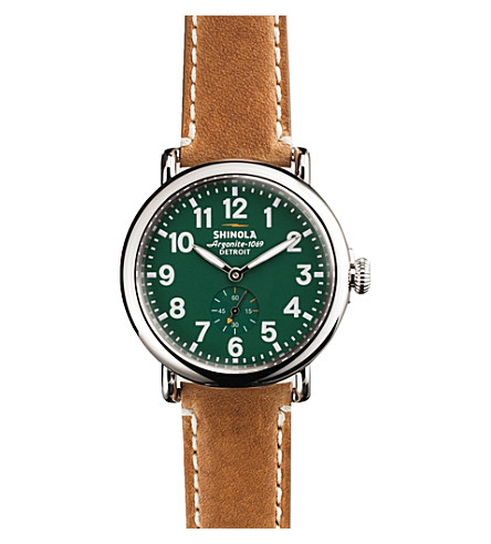 SHINOLA S0100026 Runwell stainless steel watch (Green