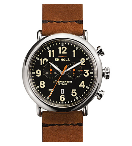 SHINOLA S0100044 Runwell stainless steel watch (Black