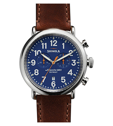 SHINOLA S0100047 Runewell stainless steel watch (Blue