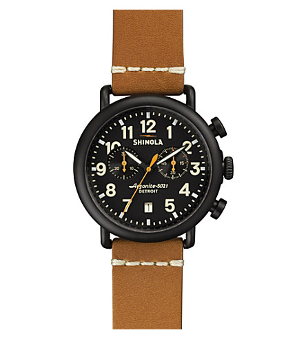 SHINOLA S0100096 Runwell black PVD-plated chronograph watch (Black
