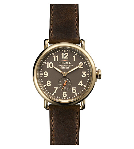SHINOLA S0100110 Unisex Runwell gold-tone leather-strap watch (Cream