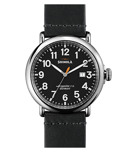 SHINOLA S0100112 Unisex Runwell stainless steel and leather-strap watch (Black