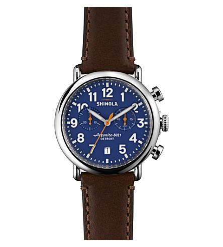 SHINOLA S0100117 Unisex Runwell chrono leather-strap watch (Blue
