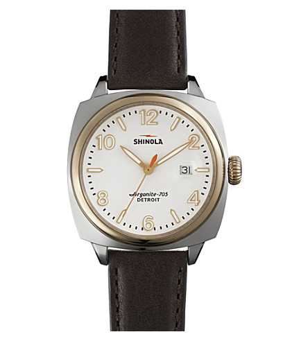 SHINOLA S100121 Unisex Brakeman stainless steel and leather watch (Cream