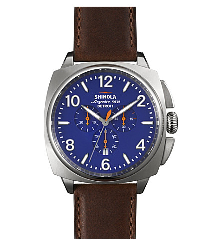 SHINOLA S0100122 Unisex Brakeman chrono stainless steel and leather-strap watch (Blue