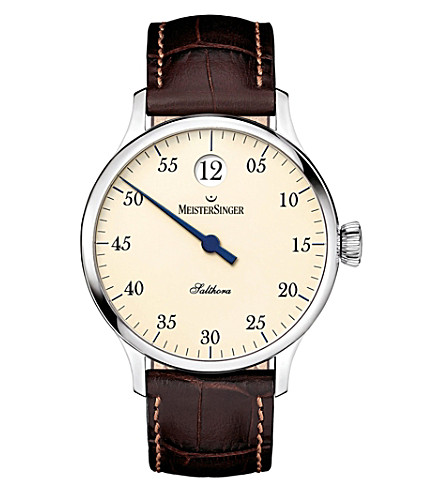 MEISTERSINGER SH903 Salthora Meta stainless steel and leather watch (Cream