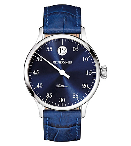 MEISTERSINGER SH908 Salthora Meta stainless steel and leather watch (Blue
