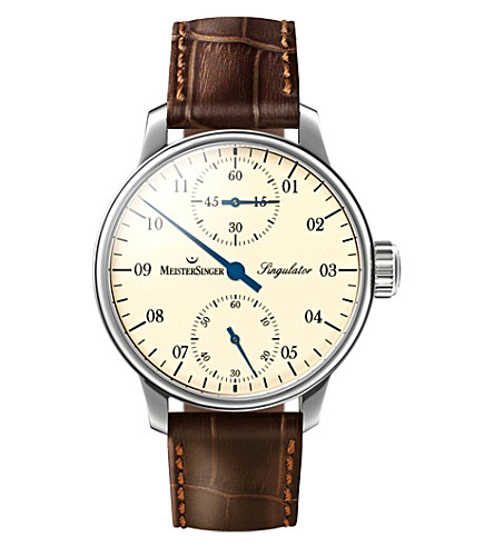 MEISTERSINGER SIM103 Singulator stainless steel and leather watch (Cream