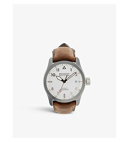 BREMONT SOLO-37/SI-RG Solo stainless steel and leather watch