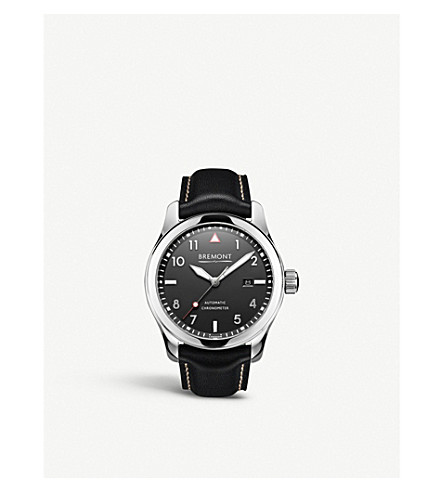 BREMONT SOLO-PB stainless steel and calf skin leather watch