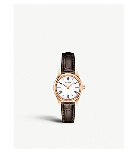 TISSOT T063.009.36.018.00 传统玫瑰镀金和皮革石英手表