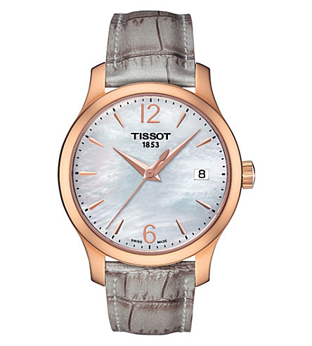 TISSOT T0632103711700 Tradition crocodile-embossed watch