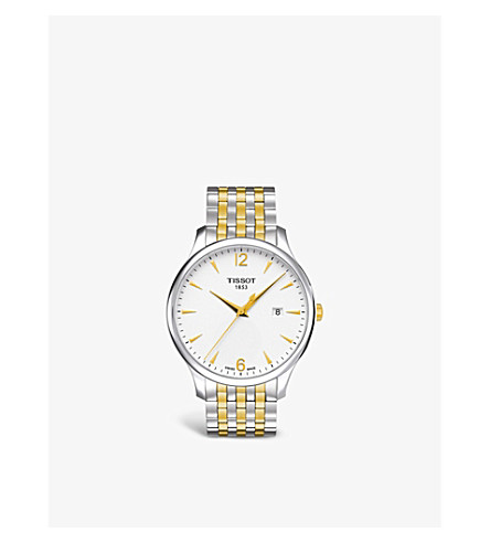 TISSOT T0636102203700 Tradition stainless steel and gold PVD watch