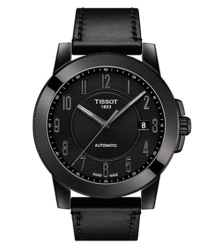 TISSOT T098.407.36.052.00 Gentleman stainless steel and leather watch