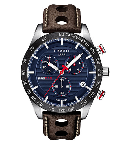 TISSOT T100.417.16.041.00 V8 stainless steel and leather chronograph watch