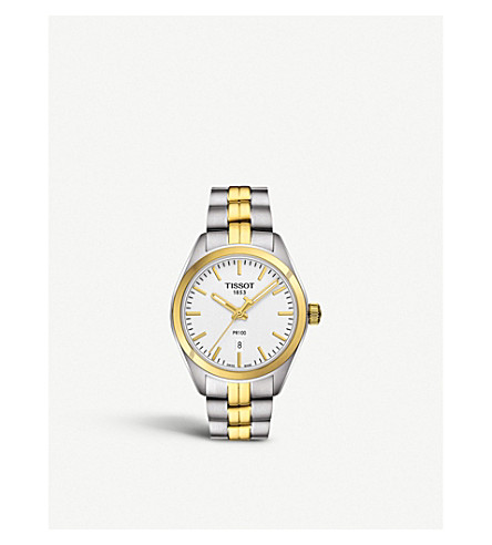 TISSOT T1012102203100 PR 100 stainless steel and gold watch
