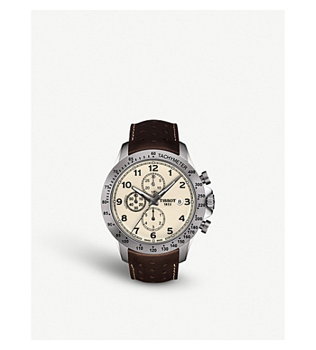 TISSOT T1064271626200 V8 Auto stainless steel and leather strap watch
