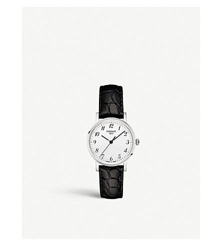 TISSOT T109.210.16.032.00 Everytime stainless steel and leather watch