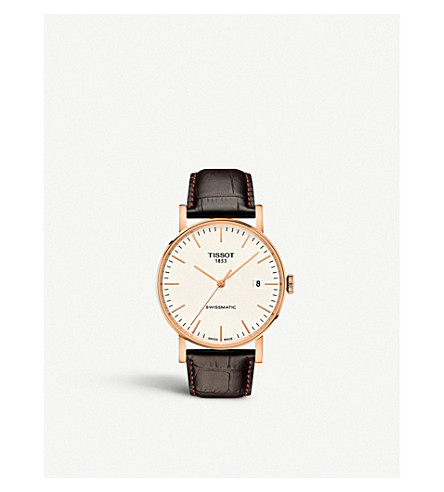 TISSOT T109.407.36.031.00 rose gold-plated stainless steel and leather watch