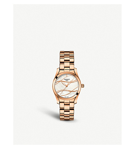 TISSOT T112.210.33.111.00 T-Wave diamond, mother-of-pearl, rose gold-plated and stainless steel watch
