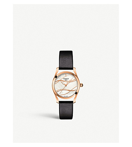 TISSOT T112.210.36.111.00 T-Wave diamond, rose gold-plated stainless steel and leather watch