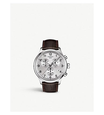 TISSOT T1166171603700 计时 XL 经典不锈钢和皮革表带手表