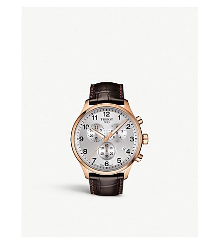 TISSOT T1166173603700 计时 XL 经典玫瑰金涂不锈钢和鳄鱼纹压花皮革表带手表