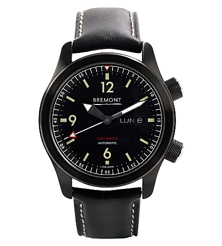 BREMONT U-2 stainless steel and leather watch