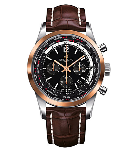 BREITLING UB0510U4/BC26 757P transocean chronograph leather watch