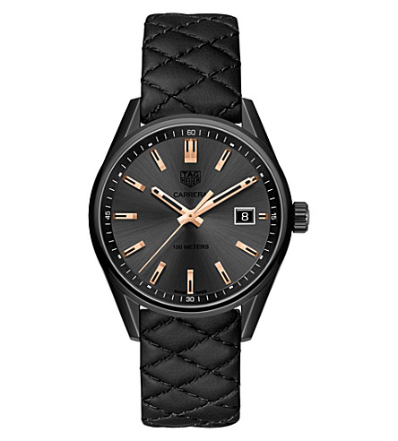 TAG HEUER WAR1113.FC6392 titanium and leather watch