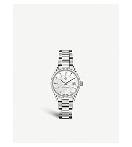 TAG HEUER WAR1315.BA0773 Carrera 64-diamond, mother-of-pearl and brushed stainless steel watch (Mother-of-pearl